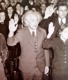 Forced to flee Nazi Germany because he was Jewish, Albert Einstein becomse a U S citizen