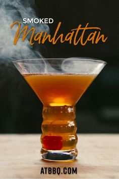 New Year's Eve is right around the corner, and this is the perfect time to impress your friends and family with a smoked cocktail! Smoked Cocktails, Bourbon Cocktails, Cocktail Recipes, Whiskey Drinks, Drink Recipes, Smoked Whiskey, Girls Night Drinks, Manhattan Cocktail