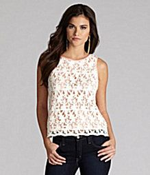 We love the contrasting lining of this Gianni Bini lace top.