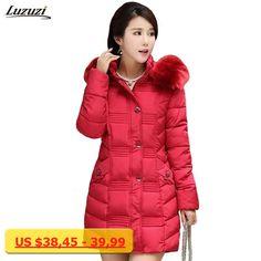 1PC Winter Jacket Women Fur Hood Parka Cotton Padded Coat Jaqueta Feminina Inverno Chaquetas Mujer Z551