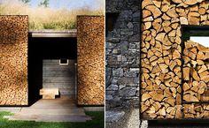 gartenmauer aus holz für minimalistische gartengestaltung
