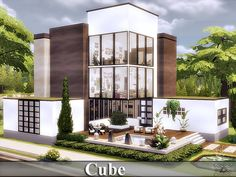 Cube house by for The Sims 4 Lotes The Sims 4, Sims New, Sims 4 Loft, Sims 4 Beds, Sims 4 House Building, Sims 4 House Design, Casas The Sims 4, Sims 4 Build, Sims 4 Game
