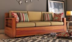 Buy Marriott 3 Seater Wooden Sofa (Honey Finish) Online in India - Wooden Street Office Furniture Design, Sofa Furniture, Wooden Furniture, Corner Sofa Wooden, Wooden Sofa Set Designs, Bedroom False Ceiling Design, Living Room Sofa Design, Bedroom Seating, Wood Sofa