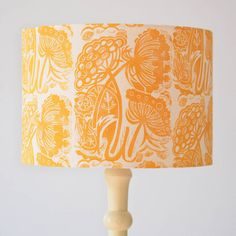 Queen Anne's Lace Lampshade Block Printed By Hand