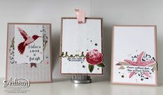 Three cards using the Picture Perfect and the First Sight stamps ~ Chantal de Kaste
