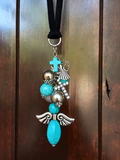Angel Rear View Mirror Charm Turquoise Guardian by TheBadaBling