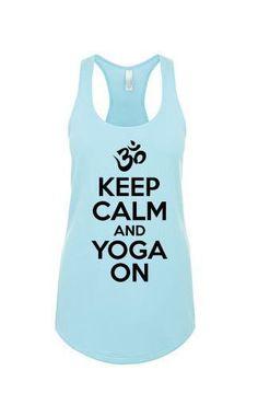 Keep Calm & Yoga On Terry Tank Top - yoga top, yoga clothes, racerback tank, funny workout tank, gym tank, fitness tank, boho clothing
