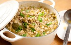 White Turkey Chili - can use ground chicken breast instead.  This is a very good different kind of chili.