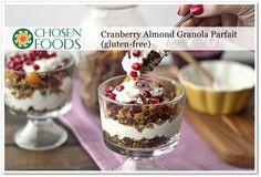 Cranberry Almond Granola Parfait (gluten-free) Recipe