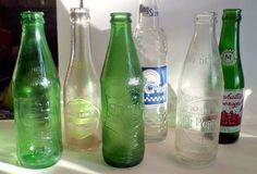 Lot of 6 Vintage Soda Bottles, Sal-U-Travis,&-Up,Manhattan Bev,Sprite Dr. Old Glass Bottles, Pop Bottles, Dr Pepper, Manhattan, Soda, Ebay, Vintage, Beverage, Soft Drink