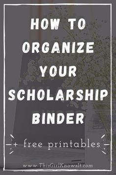 A scholarship binder is a great way to organize your scholarship materials, such as deadlines, essays, applications, and more. This post will walk you through how to organize your scholarship binder and includes some free printables to help! | This Girl Knows It | www.thisgirlknowsit.com | #college #university #student #organization