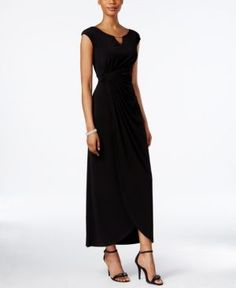 Connected Petite Embellished Faux-Wrap Gown - Black 10P