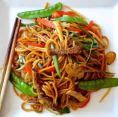 Authentic Beef Lo Mein - homemade and so much better than takeout. #Chinese #takeout #noodles
