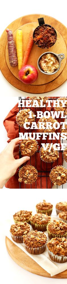 Great looking carrot apple muffins. Gluten free, dairy free, egg free, soy free, vegan. Contain nuts though could substitute.    HEALTHY 1-BOWL Carrot Apple Muffins. #Vegan #Glutenfree and perfectly moist and delicious! {Contain tree nuts - although you could sub the 1/2 cup of almond meal for ground toasted sunflower seeds and omit the walnuts in the topping}