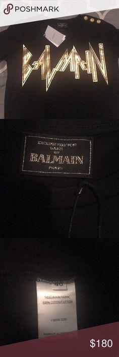 100% Authentic Black and Gold Balmain T- Shirt 100% authentic black and gold Balmain T-Shirt size US 8 (euro 40), brand new, no trades Balmain Tops Tees - Short Sleeve