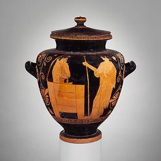 Terracotta stamnos with cover (jar). King Akrisios watching his daughter Danae and her son Perseus who stand in a chest about to be set adrift.