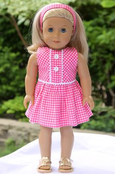 Pink gingham dress + headband for American Girl doll American Girl Doll gingham Summer dress and by dollpetitecouture Ropa American Girl, American Girl Dress, American Doll Clothes, Ag Doll Clothes, America Girl, Doll Dress Patterns, Girl Dolls, Ag Dolls, Gingham Dress