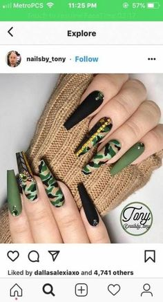 Try some of these designs and give your nails a quick makeover, gallery of unique nail art designs for any season. The best images and creative ideas for your nails. Camouflage Nails, Camo Nails, Manicure, Gel Nails, Toenails, Cool Nail Designs, Acrylic Nail Designs, Nail Design Spring, Super Nails