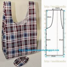Este saco tem a forma de um saco comum de plástico. Pode ser confecionado num tecido impermeável ou outros. É muito prático porque pode ser dobrado e trans