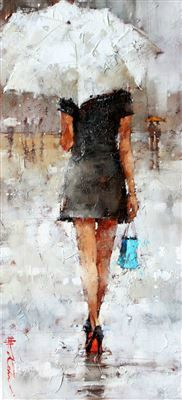Andre Kohn - Artist, Fine Art Prices, Auction Records for Andre Kohn Sketch Painting, Figure Painting, The Farm, Umbrella Art, Walking In The Rain, Cool Paintings, Art Auction, Art World, New Art