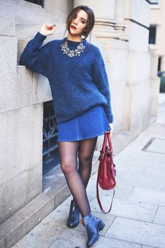 Skirts and sweaters | blue and blue