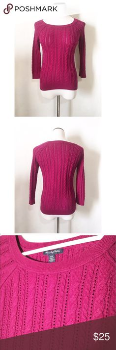 American eagle outfitters magenta knit sweater Size XS! Super cute and love the color! In excellent condition! American Eagle Outfitters Sweaters Crew & Scoop Necks
