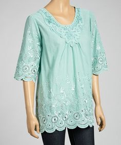 Look what I found on #zulily! Aqua Embroidered Linen-Blend Tunic #zulilyfinds