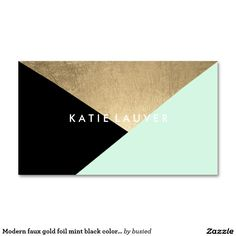 Modern faux gold foil mint black colour block chic pack of standard business cards