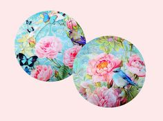 Set of 2 Flower Mouse Pad Floral Mousemat Vintage by BlissNhome