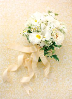 Hand-tied bouquet of yellow and white blooms