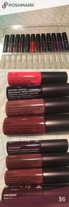 Brand new mini NYX soft matte lip cream Brand New mini NYX soft matte lip cream, never used but not sealed cause it came in a big set, don't use them. Choose 2 for $6 any color. NYX Cosmetics Makeup