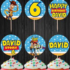 Personalized Toy Story Cupcake Toppers Printable Digital from Unikorn Designs Party Happy Birthday Printable, Happy Birthday Kids, Cupcake Toppers, Cupcake Cakes, Toy Story Cupcakes, Beach Honeymoon Destinations, Cumple Toy Story, Toy Story Party, Cowboy And Cowgirl