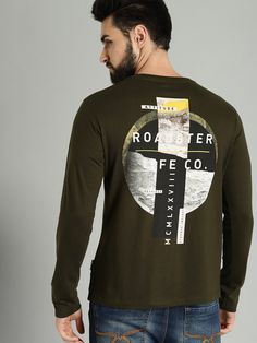 Buy Roadster Men Olive Green Printed Round Neck T Shirt - Tshirts for Men 8240435 My Design, Graphic Design, Printed Tees, Neck T Shirt, Olive Green, Graphic Sweatshirt, Sweatshirts, Prints, Mens Tops