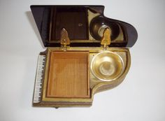 Vintage Music Box Cast Grand Piano Gold Gilt by NanNasThings
