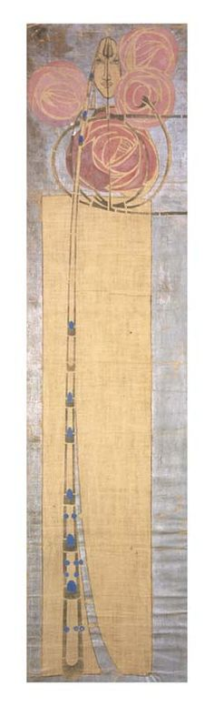 Margaret MacDonald - 1904. Silk banner, stenciled and painted.  Artist and wife of Charles Mackintosh.