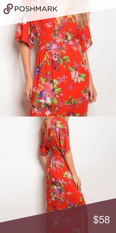 Red Tropical Floral Slit Leg Maxi Dress This gorgeous short sleeved floral print maxi dress features a V-neckline, slit skirt and gathered waist. Vivid saturated color in tropical floral, this dress is so flattering! 100% soft rayon. Be comfortable, stylish, and beautiful! NWT ~ Limited quantity! Ella Fleur Dresses Maxi