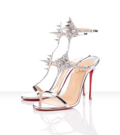Lady Max Leather Strass Sandals Argento Red Sole Shoes In store Lovely  Limit Offer French Footwear Christian Louboutin b4e7ebe7d08