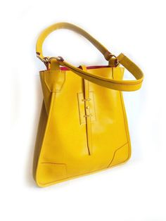 Camel Yellow Leather Tote Bag Shoulder Bag Shopping by CitaDElle