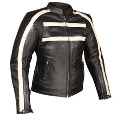 Xelement 117 Womens Black Stripe Armored Thick Leather Motorcycle Jacket  #Xelement #Motorcycle #Outdoor