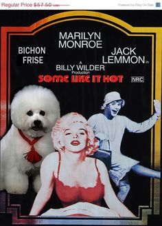 ON SALE Bichon Frise Vintage Movie Style Poster by NobilityDogs, $54.50 Sealyham Terrier, Some Like It Hot, Bichon Frise, Vintage Movies, Fine Art Paper, Canvas Art Prints, Dog Breeds, Your Dog, Cary Grant
