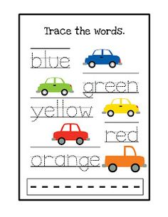 I hate worksheets but this is kinda cute plus you could laminate it and have them do more with it?  Trace the color words ~ Preschool Printables