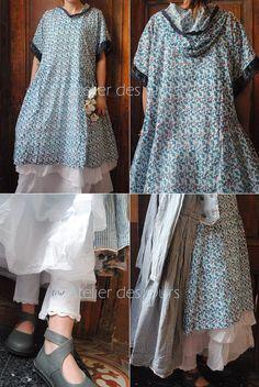 MLLE FLORALIA : Robe à fleurs, jupon organdi blanc, caleçon blanc EWA IWALLA, chaussures TRIPPEN