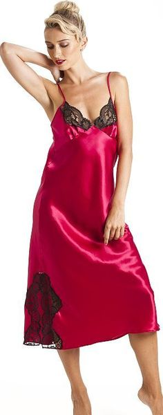 Exquisite nightgown - cute image Pyjama Satin, Satin Nightie, Silk Chemise, Satin Sleepwear, Satin Pajamas, Belle Lingerie, Pretty Lingerie, Beautiful Lingerie, Satin Underwear