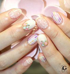See-Through sweet botanical nail #nailart #naildesgin #nail