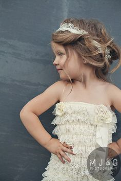 Wedding outfit - Flower Girls Cream color lace romper - Children Clothing - Lace Romper. $42.95, via Etsy.