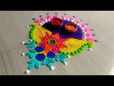 How to make rangoli design //easy & simple rangoli design/ Beautiful kolam design by Jyoti Rathod Indian Rangoli Designs, Beautiful Rangoli Designs, Kolam Designs, Diwali Rangoli, Simple Rangoli, Peacock Rangoli, Latest Rangoli, Mehndi Designs For Hands, Diwali Decorations