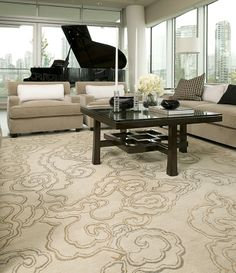 #Tufenkian's  Cloud Nine Silver Pearl at an Olympic Village Condo installation by @Salari Fine Carpets.  To learn more about Cloud Nine silver Pearl and other colorways click here: http://www.tufenkiancarpets.com/search.aspx?searchterm=cloud%20nine