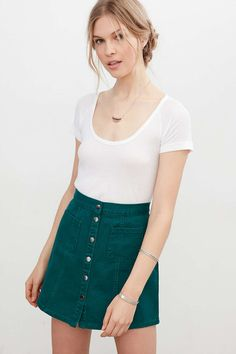 BDG Twill Button Front A-Line Skirt