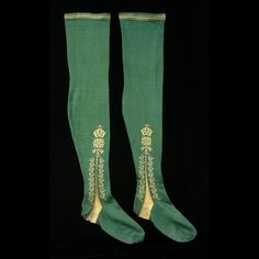 Clocked Stockings, green knitted silk, ca. 1750, England, Colonial Williamsburg Collection