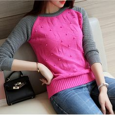 2016 Autumn Winter Women Sweater Warm beading pearls knitwear Pullover Women Sweaters and Pullovers Outerwear sweter mujer Casual Winter Outfits, Casual Dresses, Girls Western Wear, Winter Chic, Sweater Fashion, Korean Fashion, Sweaters For Women, Trending Outfits, Fashion Outfits
